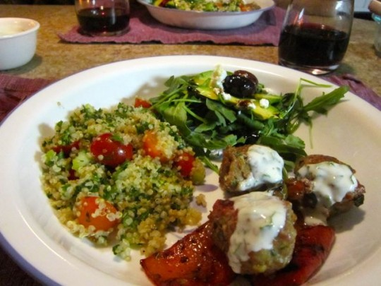 Dinner! Lamb Meatballs With Quinoa Tabouleh