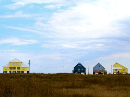 Brightly Colored Homes On The Beach