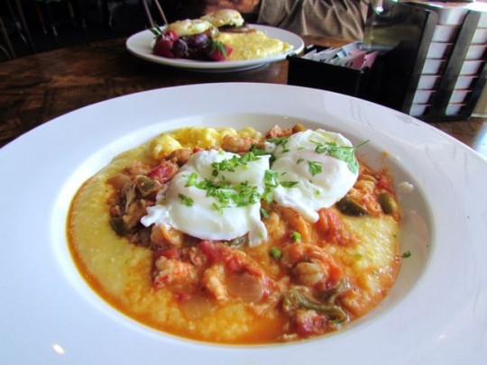Crawfish Etoufee, Grits, Poached Eggs