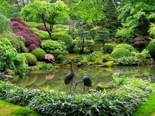 Crane Sculptures In The Garden