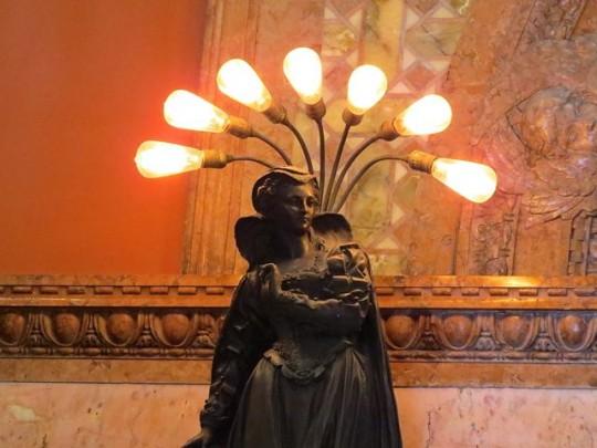Art Nouveau Lamp with Edison Style Lightbulbs