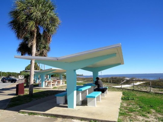 Retro Picnic Area On Carrabelle Beach