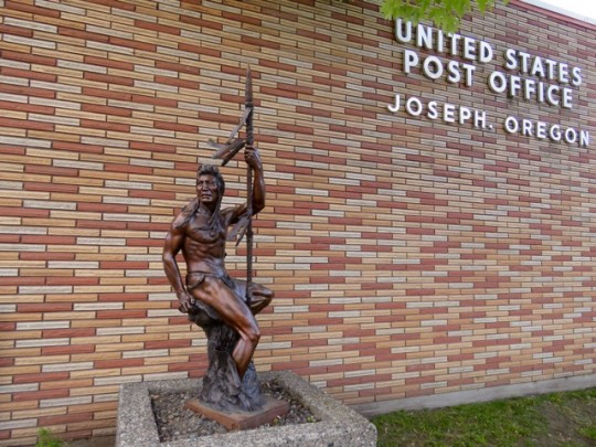 Bronze Warrior In Front Of The Post Office