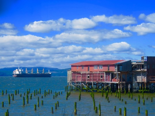 Ship And Old Cannery On The Waterfront